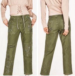 Zara Army Green Paint Splatter Jeans